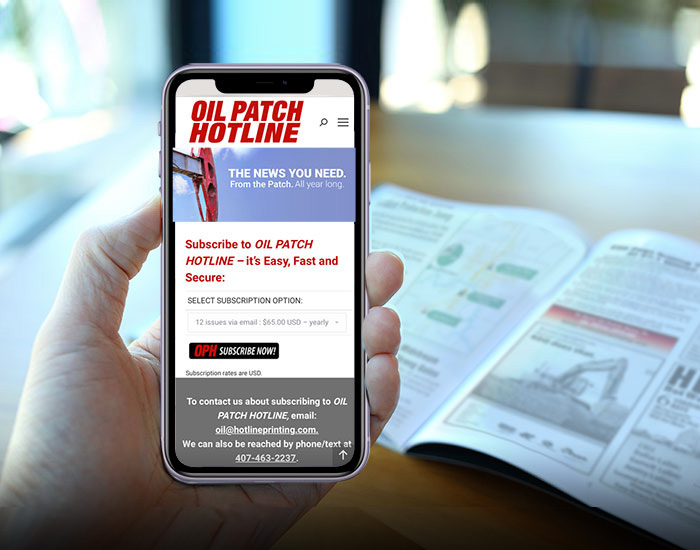 oil patch hotline subscribe page on mobile device